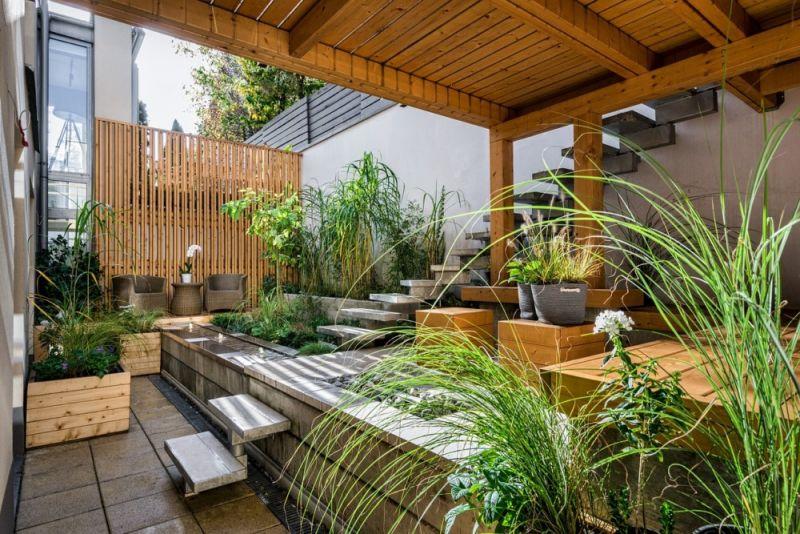 Elegáns nappali a kertben