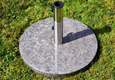 Kör alakú napernyőtalp márványból és rozsdamentes acélból, 25 kg