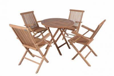 DIVERO összecsukható kerti bútor tíkfából - Garth