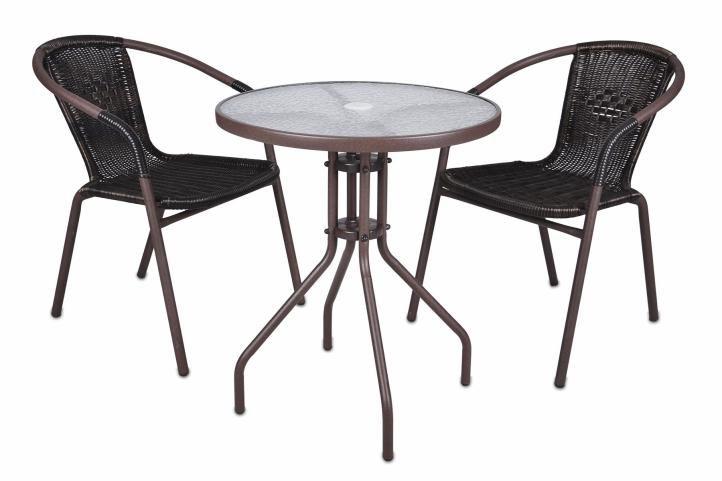 Kerti asztal üveglappal Bistro + 2 polyrattan szék Garth