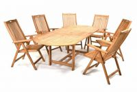 Kerti bútor készlet DIVERO® 6 db szék + asztal - tíkfa
