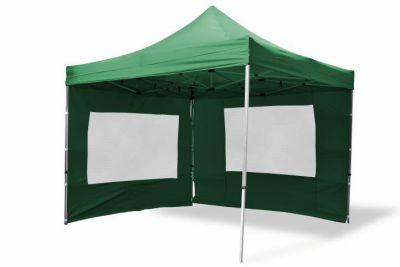 Összecsukható kerti parti sátor GARTHEN – zöld, 3 x 3 m + 4 oldalfallal