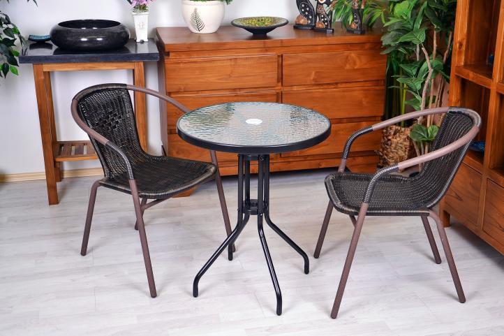 Polyrattan kerti szék készlet Garth - sötétbarna, 4 db