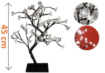 Dekoratív LED fa virágokkal - 45 cm, hideg fehér