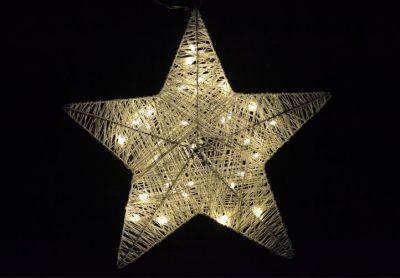 Karácsonyi dísz - karácsonyi csillag - 35 cm, 30 LED dióda