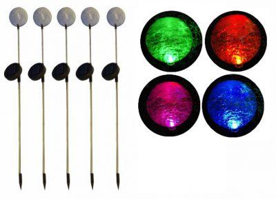 REMO kerti szoláris LED lámpa készlet, Garth – 5 db színváltó üveggömb