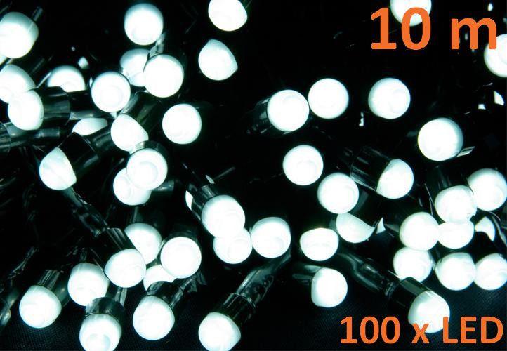 Karácsonyi LED világítás 10 m - hideg fehér, 100 MAXI LED dióda
