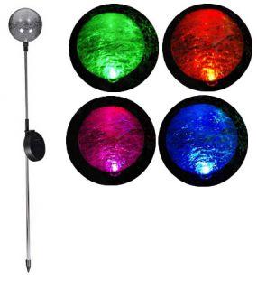 Kerti szoláris LED lámpa Garth – színváltó üveggömb