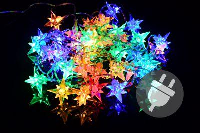 Karácsonyi LED világítás 14m/40x LED - színes csillagok