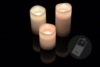 Dekoratív LED készlet - 3 viasz gyertya - fehér