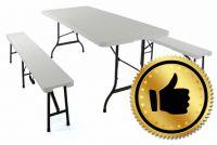 Kerti összecsukható asztal Garth + 2 pad