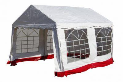 Kerti parti sátor – fehér, piros szegéllyel 3 x 4 m