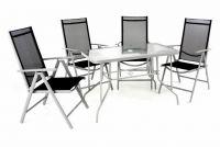 Kerti készlet asztal + 4 szék - fekete