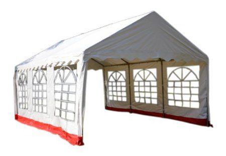 Kerti sátor pavilon GARTHEN 4 x 6 m - fehér / piros