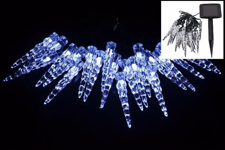 NAPELEMES füzér LED jégcsapokkal - villogó funkció