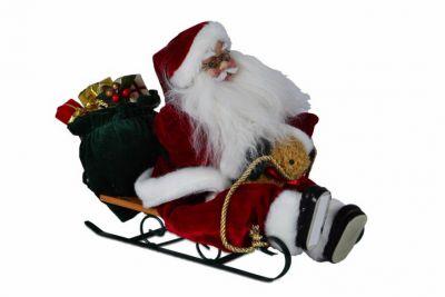 Karácsonyi dísz - Santa Claus szánkón 20 cm
