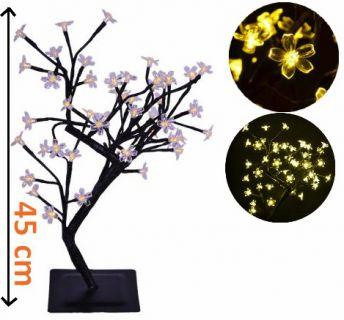Dekoratív LED fa virágokkal - 45 cm, meleg fehér