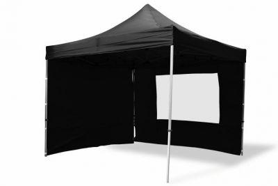 Összecsukható kerti parti sátor Profi – fekete, 3 x 3 m + 4 oldalfallal