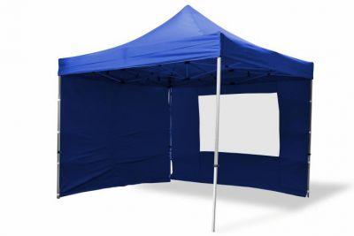 Összecsukható kerti parti sátor Profi –kék, 3 x 3 m + 4 oldalfallal
