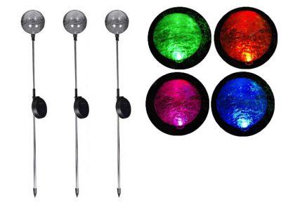 Kerti szoláris LED lámpa készlet – 3 db színváltó üveggömb
