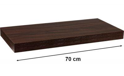 Fali polc STILISTA VOLATO - sötét fa 70 cm