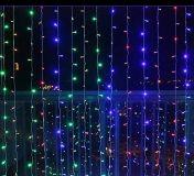 Karácsonyi LED fényfüggöny színes - 3 x 3 m 300 LED