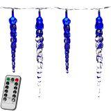 Karácsonyi dekoratív világítás- jégcsapok - 40 LED kék + távirányító