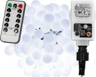 LED világítás 5m/50x LED - hideg fehér + távirányító