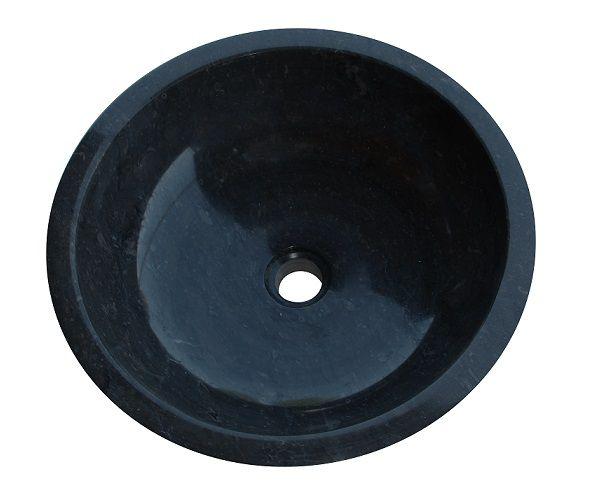Mosdókagyló természetes kőből - GEMMA 501 Márvány Ø50 Black