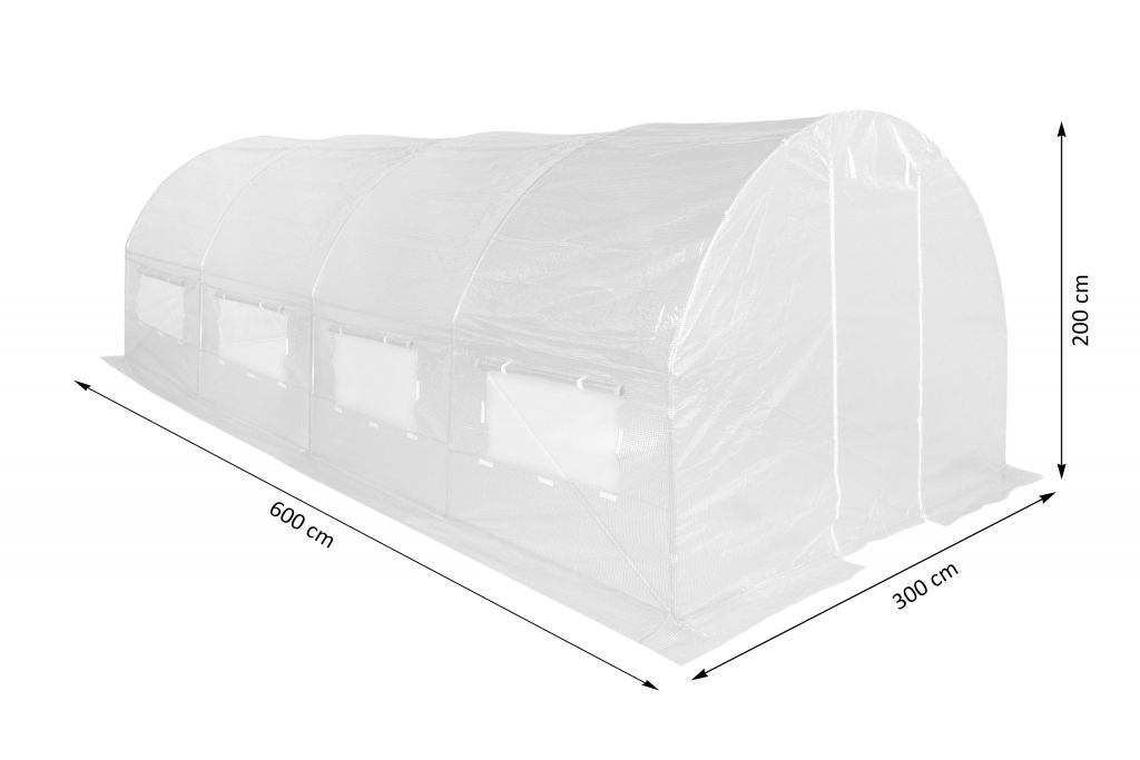 Fóliasátor 300 x 600 cm - fehér