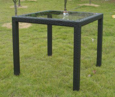 Fekete rattan asztal, üveglappal - 80 x 80 cm